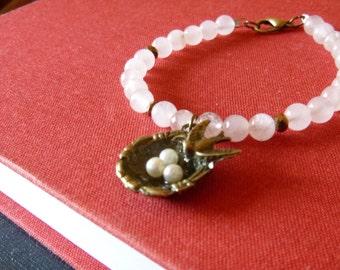 Bird's nest bracelet with rose quartz