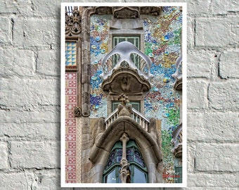 Fine Art Print, Richly Textured Colorful Modernisme Facade Detail of Antoni Gaudi's Casa Batlló, Barcelona, Spain