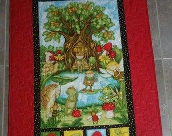 Furry Friends quilt/blanket, childrens quilt/blanket, animal quilt, forest quilt