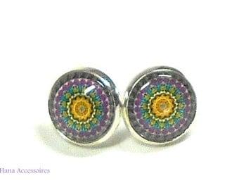 Earrings silver * ornaments purple * earrings