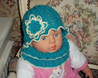 knitted CAP and loop for children in turquoise, hat,