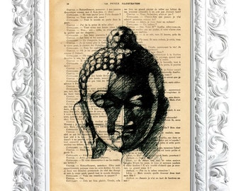 Buddha 4. Print on French publication of illustration. 28x19cm.
