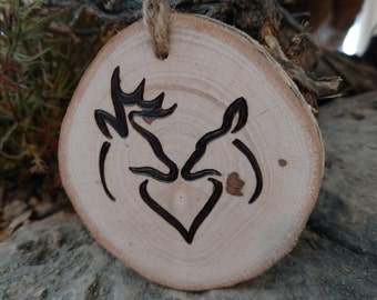 Rustic Whitetail Buck and Doe Chriatmas ornament or gift tag can be customized with date
