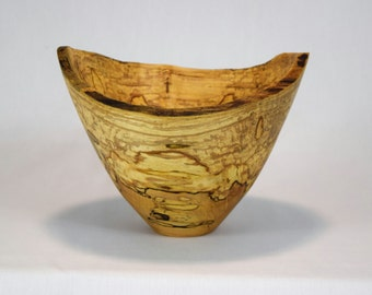 Woodturning - Hand turned wood bowls - natural edge spalted ambrosia maple bowl - beautiful and unique