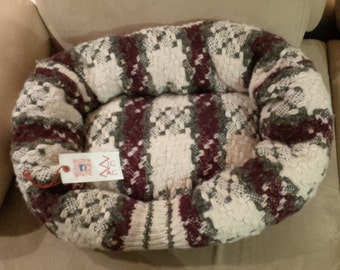 Pet bed - Wine and cream colour plaid pattern Upcycled  sweater