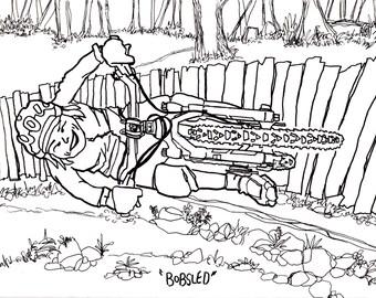 Mountain Biking Bobsled, Bike, Bicycle, Drawing, Coloring, Book, Digital, Download, Art, Doodle, Cartoon, Custom, Commision