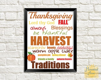 Thanksgiving Printable Word Art | Instant Download | Thanksgiving Subway Art | Fall Word Art Printable