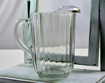 National-Clear, Jeannette, Glass Pitcher, Beer Pitcher, Barware, Vintage Pitcher, Ribbed Pitcher, Ice Lip Pitcher