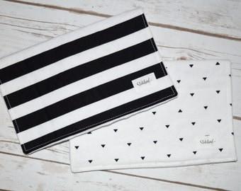 Burp Cloths, Set of 2 - Black & White