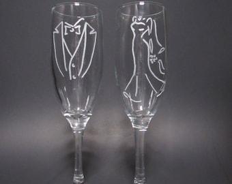 Tux & Wedding Dress Champagne Glasses