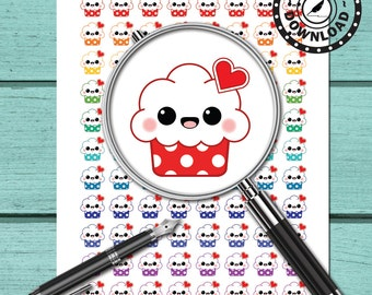 Kawaii Cupcake Planner Stickers Download Printable Planner Stickers Erin Condren Life Planner (ni53)