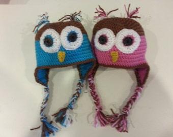 Crochet Owl Hats for Boy/Girl/Twins