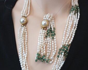 Fresh Water Pearl and Jade Set
