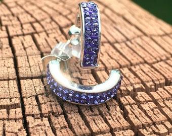 Earrings:  silver plated periwinkle crystal studs