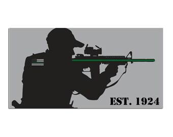 Border Patrol Thin Green Line (gray background)  (0054)