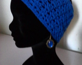 headband made crochet lambswool phildar, soft and silky, offered earrings