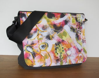 Modern, multifunctional laptop / shoulder bag with prints of own paintings - Indian summer