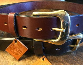 "Traditional Handmade Leather Belt SIZE 36"" / Australian Nut Brown"