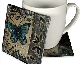 Angelstar 19058 Handmade and Hand-Painted Glass Blue Butterfly Coaster, 4-Inch, Set of 4