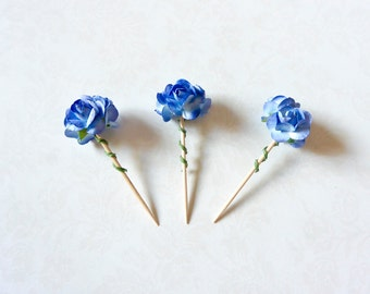 Royal Blue Flower Toppers