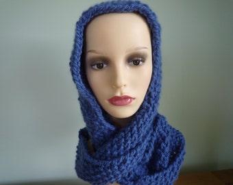 Blue Infinity Cowl / Scarf, Wool and Alpaca