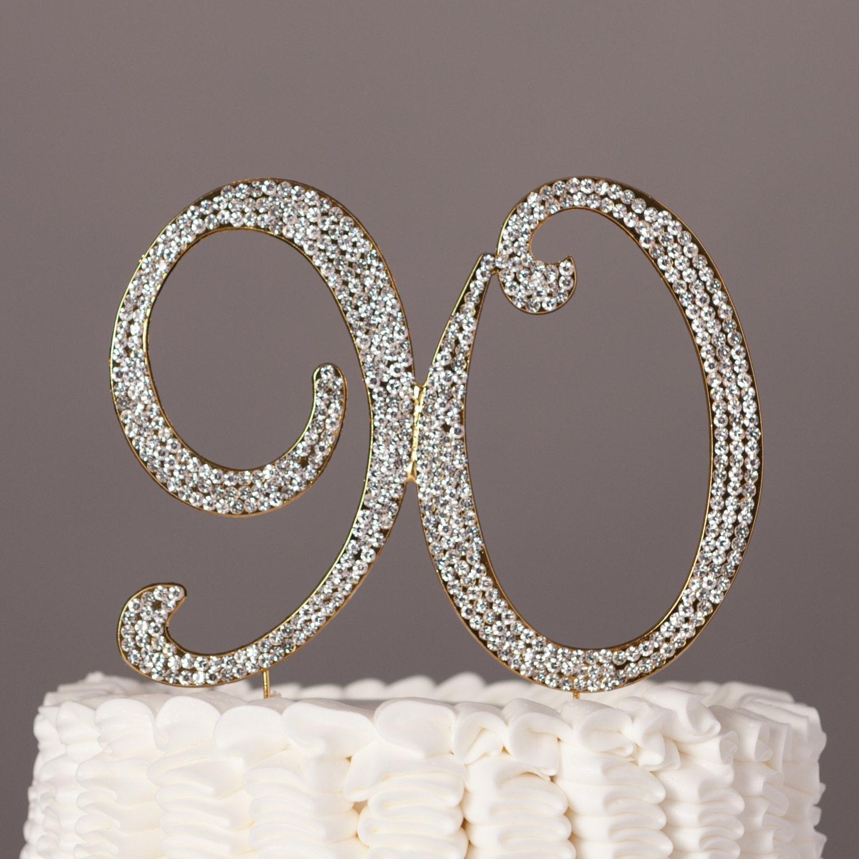90 cake topper 90th birthday decoration gold crystal for 90th birthday decoration