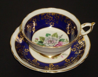 Paragon England Gold Flowers on Cobalt with Floral Spray