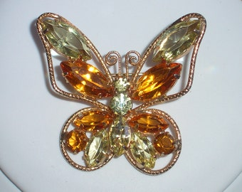 Juliana Rhinestone Butterfly Brooch – 1960's