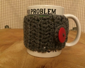 Crochet Mug Cozy with Red Button