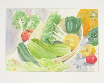 ORIGINAL painting, watercolor, vegetables, still life, gift art, 18x24/mounted 22x28