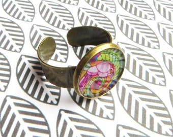 Art Nouveau ring ~  stained glass mosaic nature floral pattern antique bronze ring