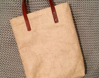 Tote, Hessian/Burlap and Leather - Large