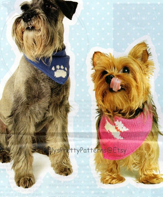 Knitting Patterns For Dog Bandanas : PDF Knitting Pattern for 2 Designs of Dog Scarves/Scarf/Neckerchiefs/Bandanas...