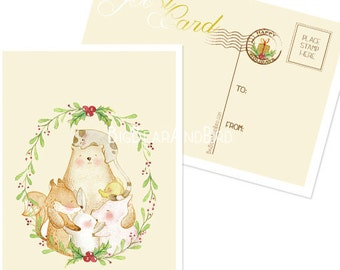 """Golden """"Heart of Christmas"""" Peace on Earth Postcard series holiday card"""