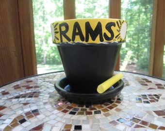 VCU Rams hand painted decorative pot - 4 inch indoor/outdoor terracotta pot