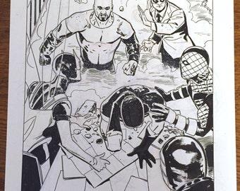 Superior Foes original art, issue 4, page 3. Splash page! Luke Cage, Iron Fist, Shocker, Speed Demon, Beetle, Overdrive