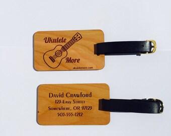 Music bag tags - Ukulele case tag - Ukulele instrument case tag - Cherry wood - bag tag