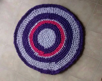 Purple Rug, Rag Rug, Crochet