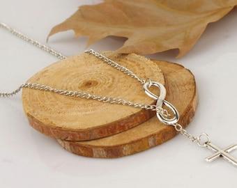 Infinity Cross Necklace | Infinity Cross Sterling Silver Necklace | Cross Necklace | Infinity Necklace |
