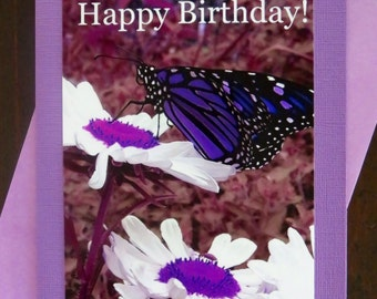 Happy Birthday Monarch. Photo Greeting/Note Card. Blank Inside. 4 Color Choices.