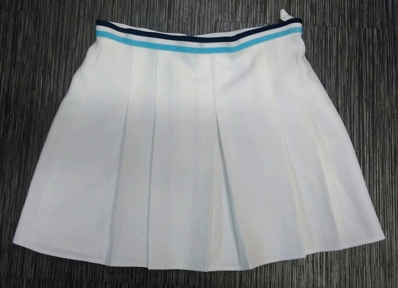 vintage bhs tennis skirt pleated white with navy lite blue