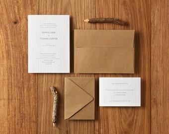 Custom Letterpress Wedding Invitations, Deposit Only