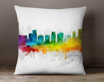 Orlando City Skyline Throw Pillow, 18x18, Orlando Cityscape, Orlando Pillow Case, Cushion, Gift Idea, MMR-USFLOR05PI