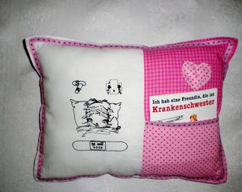 Children gift pillow comfort pillow with pouch motif embroidered