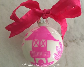 Hot Pink Chinoiserie Ornament - Pagoda Design - Pink and White - Blue Willow - Holiday - Christmas - Housewarming - Hostess - Gift - Preppy