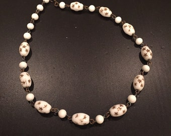 Antique Milk Glass Necklace with Stars
