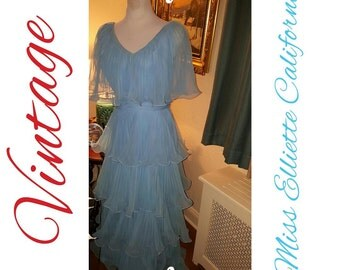 Vintage 70's Miss Elliette Frilly Gown