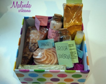 Box gift with personal care products.