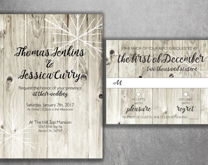 Affordable Winter Wedding Invitations Printed, Rustic Winter Invitation, Snowflake Wedding Invitation, Wood, Outside, Southern, Barn, White