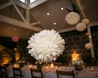 Cream Tissue Paper Pom Poms Wedding Decorations
